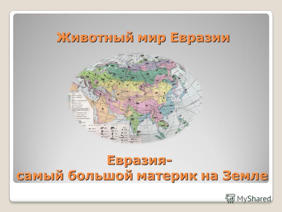 Животный мир Евразии Животный мир Евразии Евразия- самый большой материк на Земле Евразия- самый большой материк на Земле