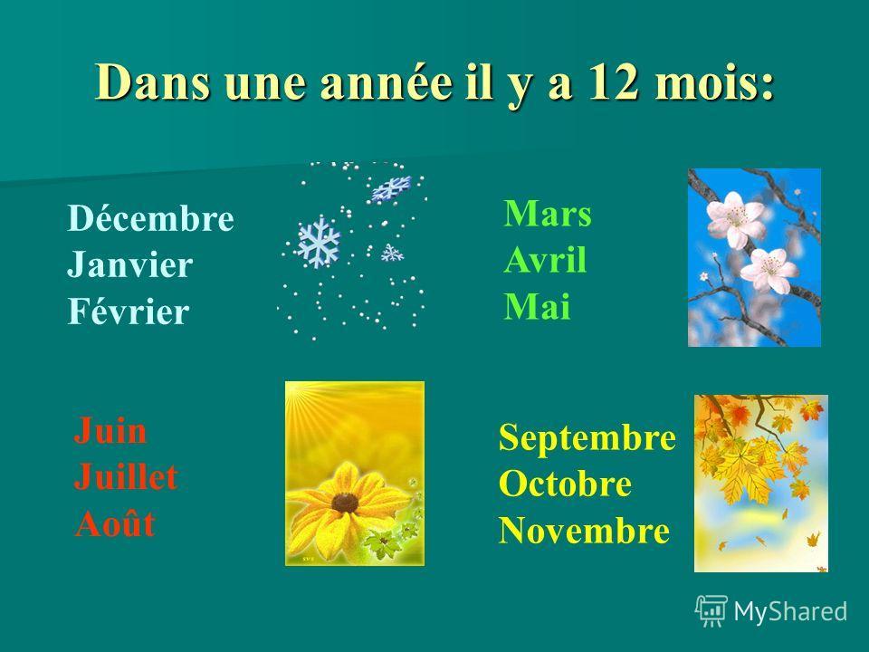 Dans une année il y a 12 mois: Décembre Janvier Février Mars Avril Mai Juin Juillet Août Septembre Octobre Novembre