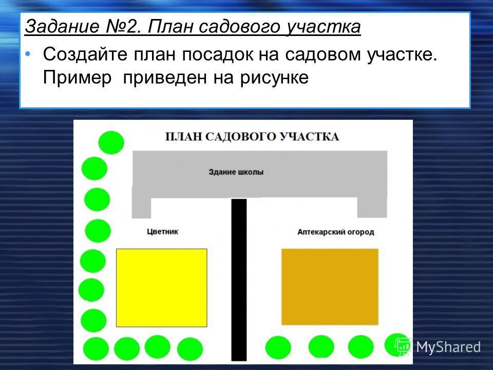Задание 2. План садового участка Создайте план посадок на садовом участке. Примерприведен на рисунке