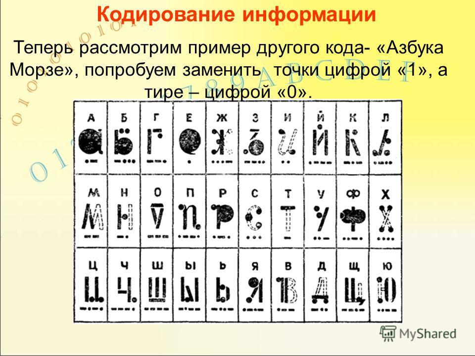 Кодирование информации Теперь рассмотрим пример другого кода- «Азбука Морзе», попробуем заменить точки цифрой «1», а тире – цифрой «0».