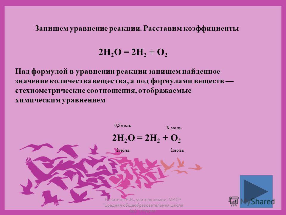 Запишем уравнение реакции. Расставим коэффициенты 2Н 2 О = 2Н 2 + О 2 Над формулой в уравнении реакции запишем найденное значение количества вещества, а под формулами веществ стехиометрические соотношения, отображаемые химическим уравнением 2Н 2 О =