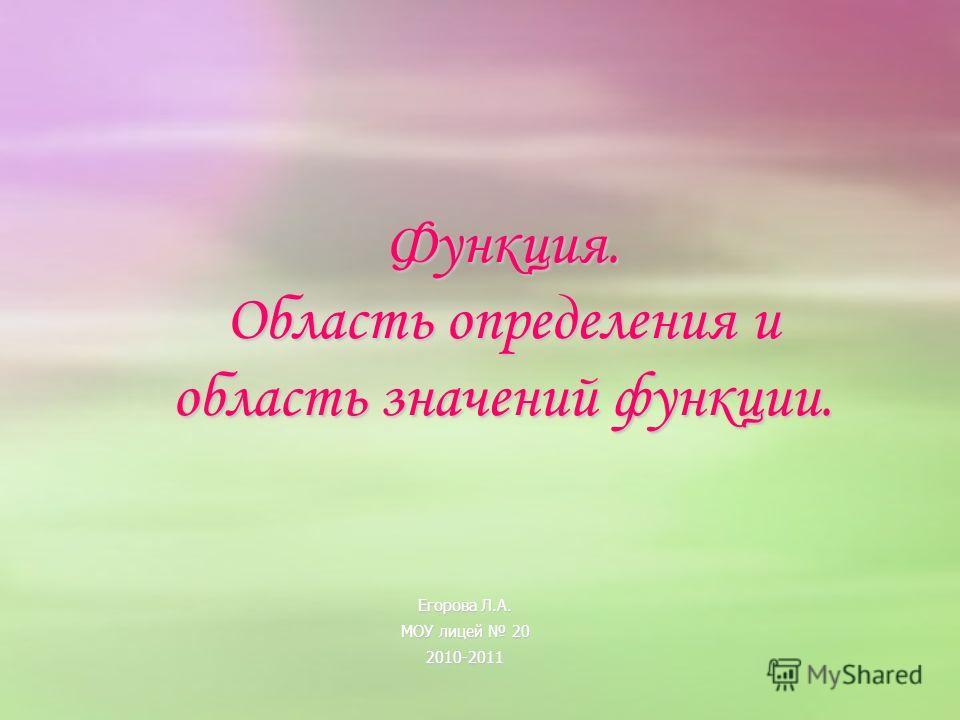 Функция. Область определения и область значений функции. Егорова Л.А. МОУ лицей 20 2010-2011