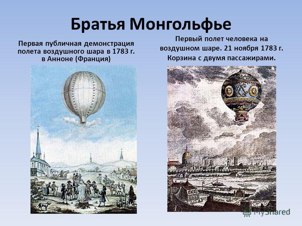 Братья Монгольфье Первая публичная демонстрация полета воздушного шара в 1783 г. в Анноне (Франция) Первый полет человека на воздушном шаре. 21 ноября 1783 г. Корзина с двумя пассажирами.