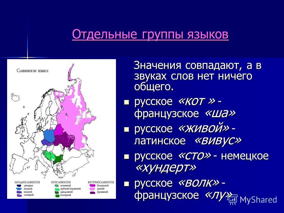 Отдельные группы языков Значения совпадают, а в звуках слов нет ничего общего. Значения совпадают, а в звуках слов нет ничего общего. русское «кот » - французское «ша» русское «кот » - французское «ша» русское «живой» - латинское «вивус» русское «жив