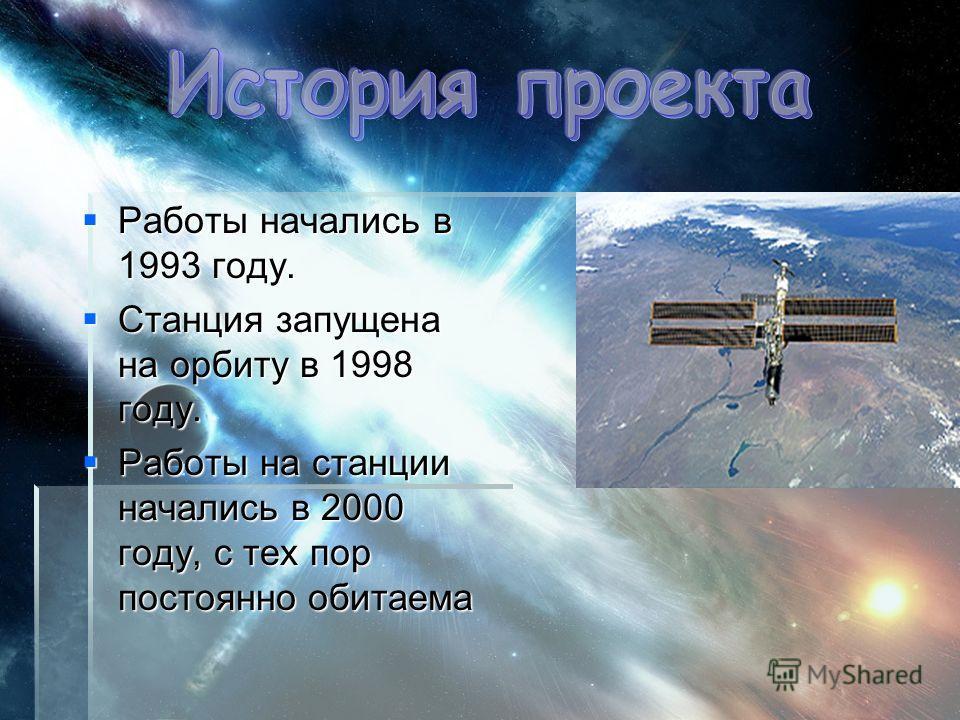 Работы начались в 1993 году. Работы начались в 1993 году. Станция запущена на орбиту в 1998 году. Станция запущена на орбиту в 1998 году. Работы на станции начались в 2000 году, с тех пор постоянно обитаема Работы на станции начались в 2000 году, с т
