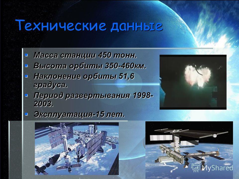 Технические данные Масса станции 450 тонн. Масса станции 450 тонн. Высота орбиты 350-460км. Высота орбиты 350-460км. Наклонение орбиты 51,6 градуса. Наклонение орбиты 51,6 градуса. Период развертывания 1998- 2003. Период развертывания 1998- 2003. Экс