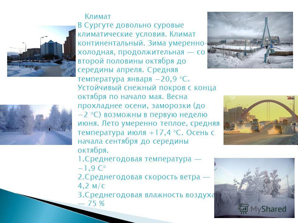 Климат В Сургуте довольно суровые климатические условия. Климат континентальный. Зима умеренно- холодная, продолжительная со второй половины октября до середины апреля. Средняя температура января 20,9 °C. Устойчивый снежный покров с конца октября по