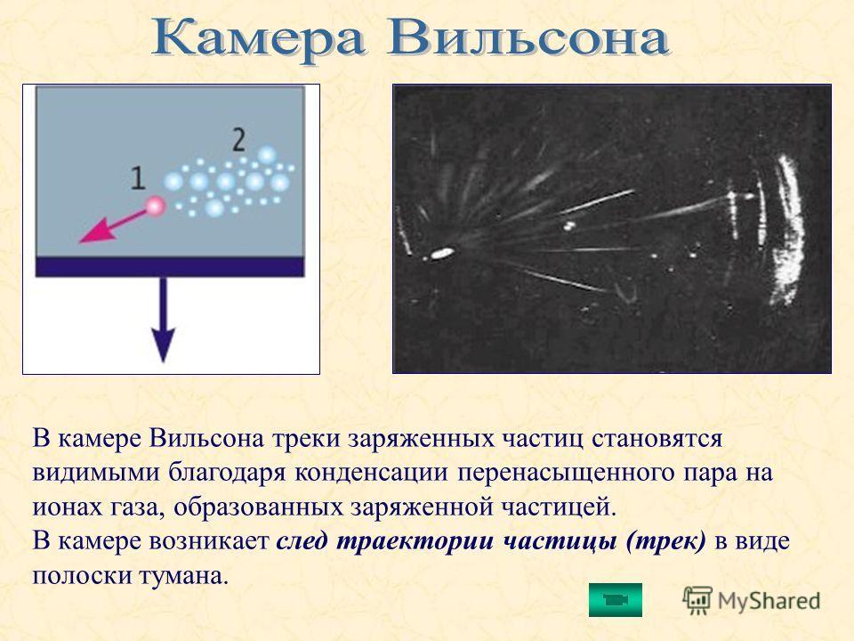 В камере Вильсона треки заряженных частиц становятся видимыми благодаря конденсации перенасыщенного пара на ионах газа, образованных заряженной частицей. В камере возникает след траектории частицы (трек) в виде полоски тумана.