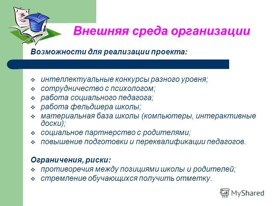 Внешняя среда организации Возможности для реализации проекта: интеллектуальные конкурсы разного уровня; сотрудничество с психологом; работа социального педагога; работа фельдшера школы; материальная база школы (компьютеры, интерактивные доски); социа