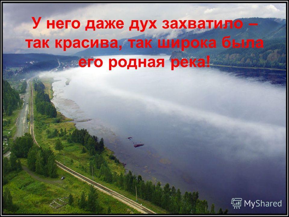 У него даже дух захватило – так красива, так широка была его родная река!