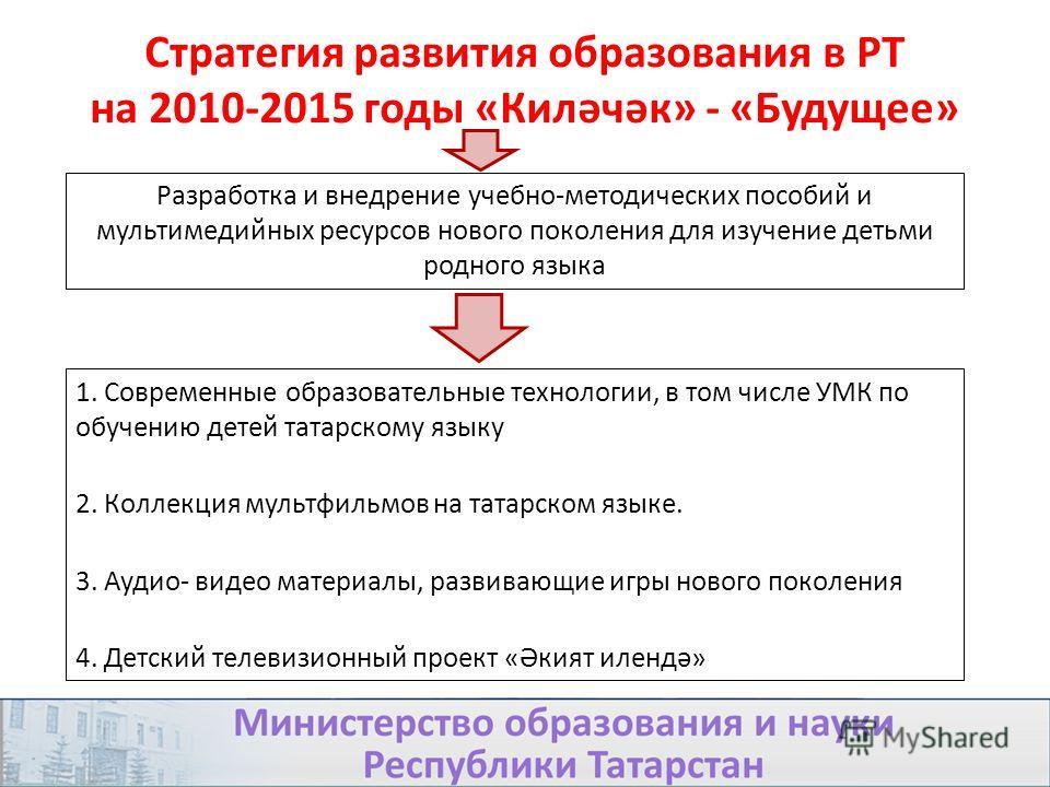 Стратегия развития образования в РТ на 2010-2015 годы «Киләчәк» - «Будущее» 1. Современные образовательные технологии, в том числе УМК по обучению детей татарскому языку 2. Коллекция мультфильмов на татарском языке. 3. Аудио- видео материалы, развива