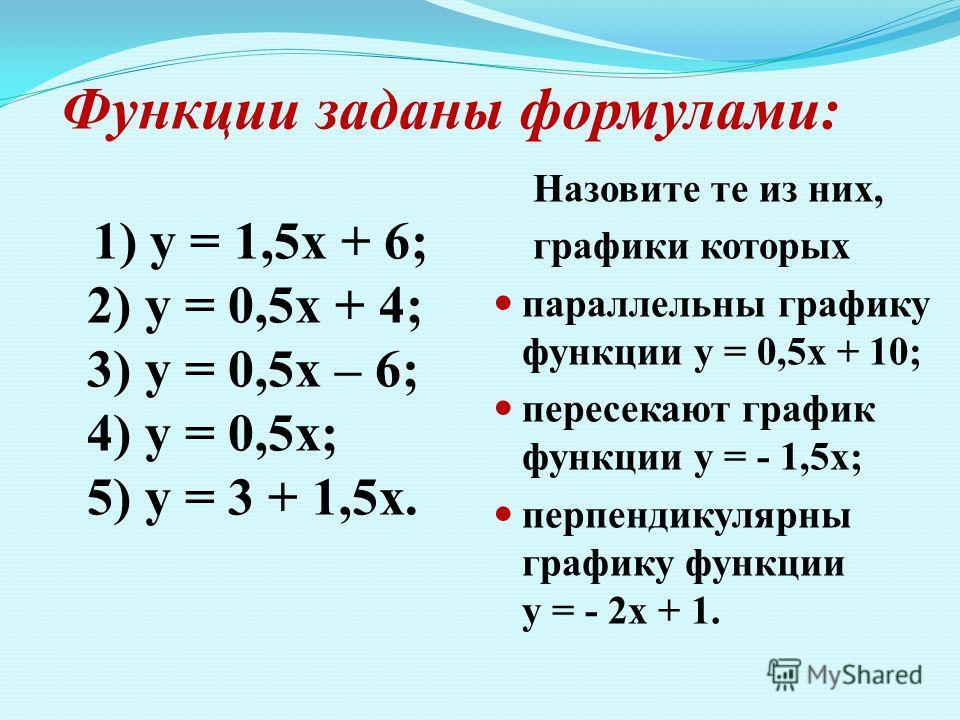 Функции заданы формулами: 1) у = 1,5х + 6; 2) у = 0,5х + 4; 3) у = 0,5х – 6; 4) у = 0,5х; 5) у = 3 + 1,5х. Назовите те из них, графики которых параллельны графику функции у = 0,5х + 10; пересекают график функции у = - 1,5х; перпендикулярны графику фу