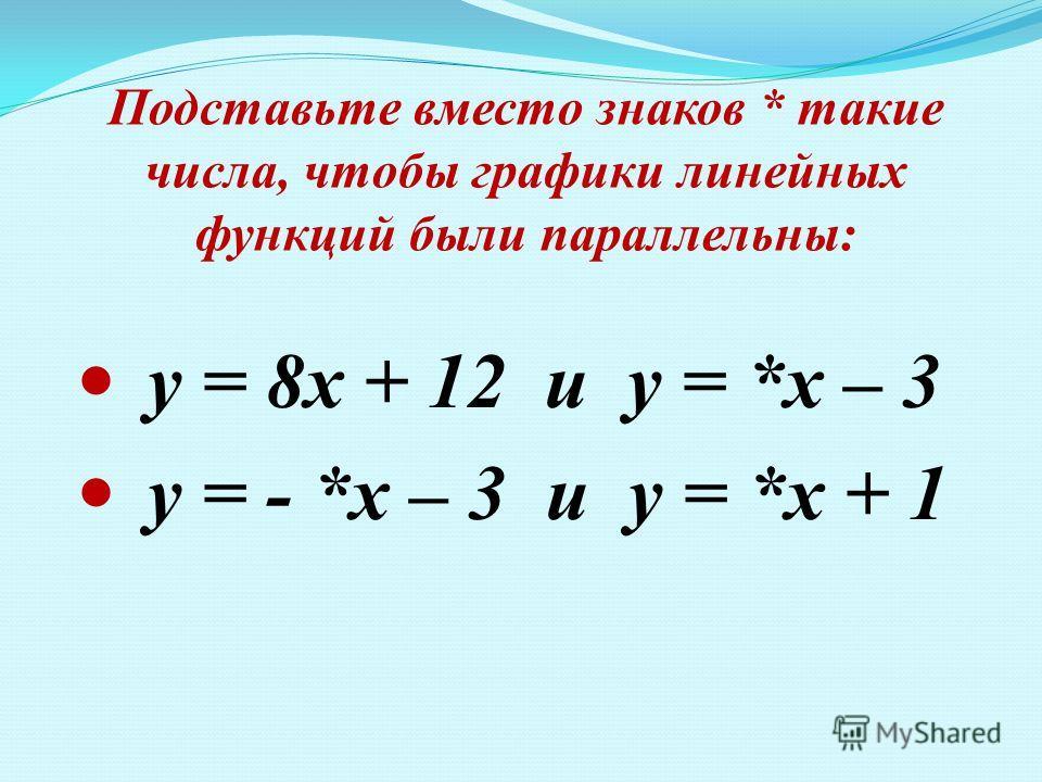 Подставьте вместо знаков * такие числа, чтобы графики линейных функций были параллельны: у = 8х + 12 и у = *х – 3 у = - *х – 3 и у = *х + 1