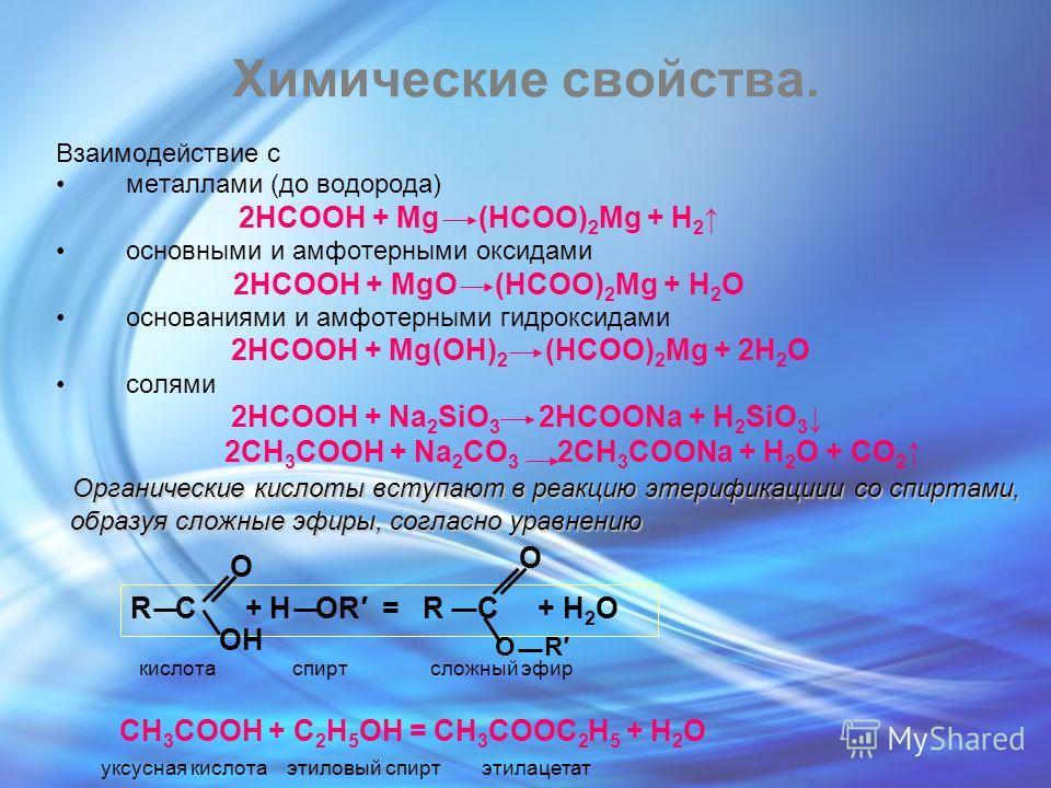 Химические свойства. Взаимодействие с металлами (до водорода) 2HCOOH + Mg (HCOO) 2 Mg + H 2 основными и амфотерными оксидами 2HCOOH + MgO (HCOO) 2 Mg + H 2 O основаниями и амфотерными гидроксидами 2HCOOH + Mg(OH) 2 (HCOO) 2 Mg + 2H 2 O солями 2HCOOH