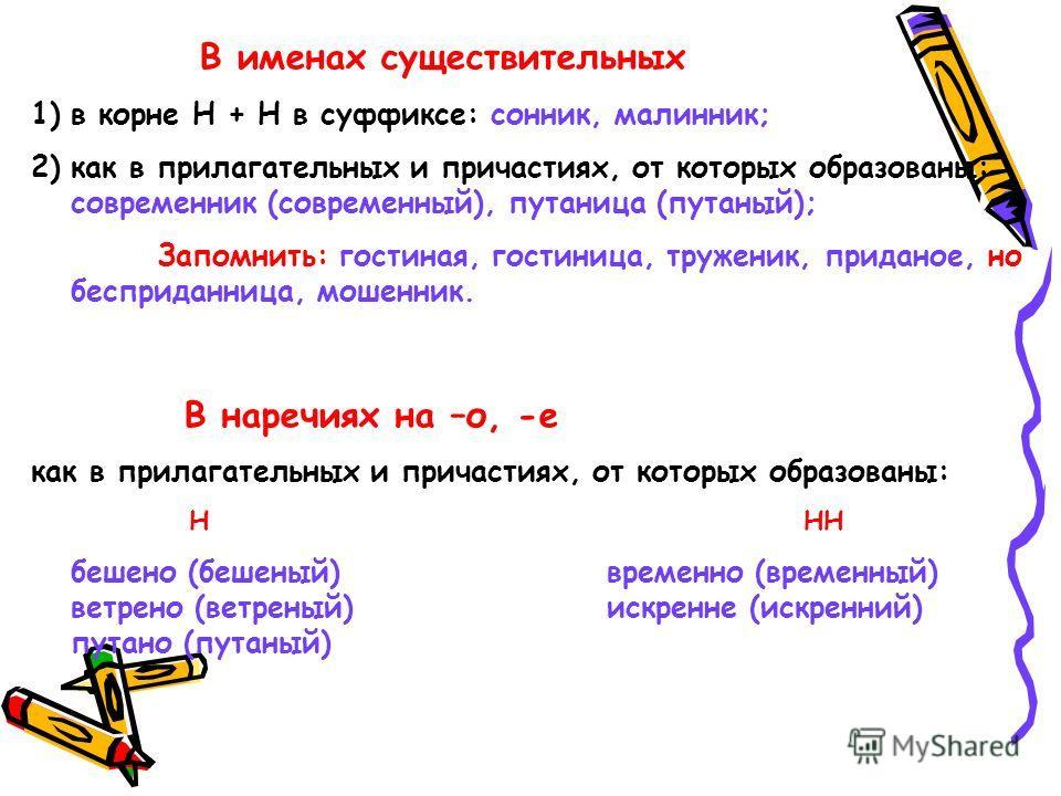 В именах существительных 1)в корне Н + Н в суффиксе: сонник, малинник; 2)как в прилагательных и причастиях, от которых образованы: современник (современный), путаница (путаный); Запомнить: гостиная, гостиница, труженик, приданое, но бесприданница, мо