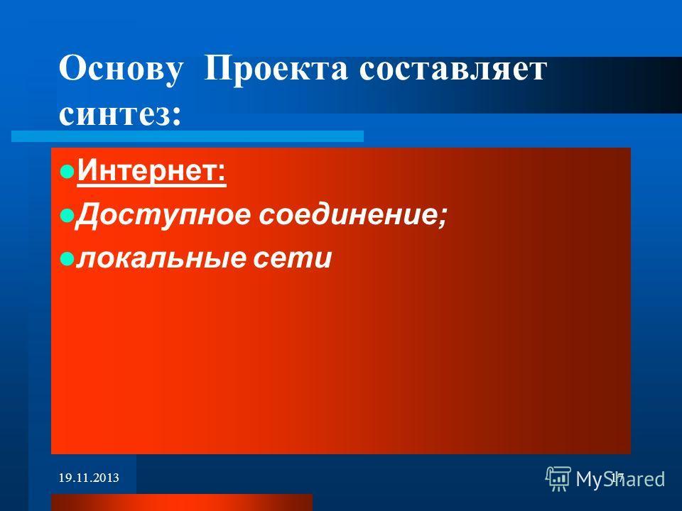 19.11.201317 Основу Проекта составляет синтез: Интернет: Доступное соединение; локальные сети