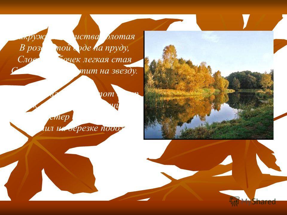 Закружилась листва золотая В розоватой воде на пруду, Словно бабочек легкая стая С замираньем летит на звезду. Я сегодня влюблен в этот вечер, Близок сердцу желтеющий дол. Отрок-ветер по самые плечи Заголил на березке подол.
