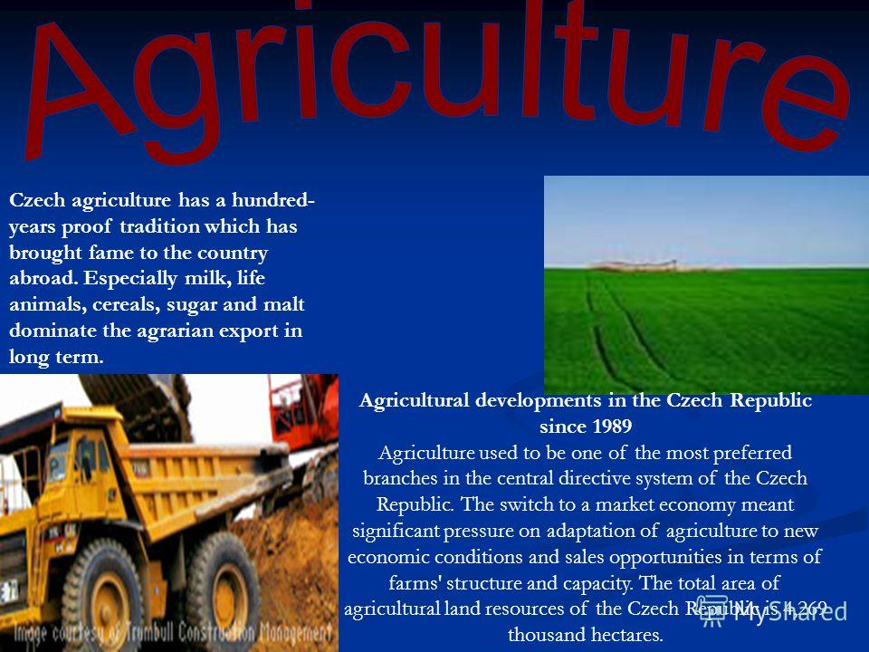 Czech agriculture has a hundred- years proof tradition which has brought fame to the country abroad. Especially milk, life animals, cereals, sugar and malt dominate the agrarian export in long term. Agricultural developments in the Czech Republic sin