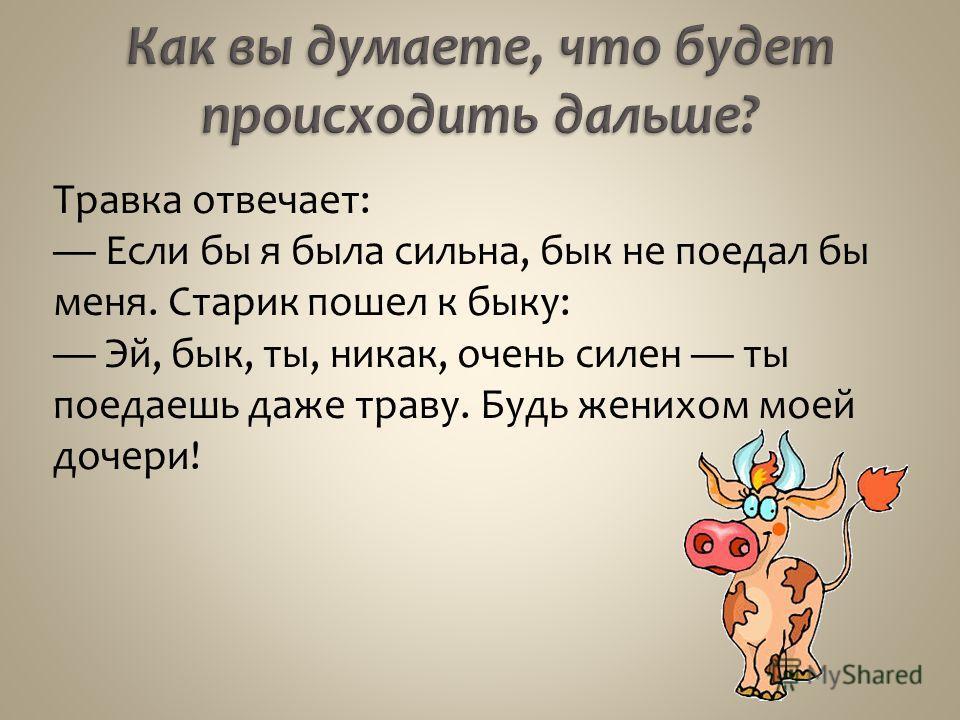 Травка отвечает: Если бы я была сильна, бык не поедал бы меня. Старик пошел к быку: Эй, бык, ты, никак, очень силен ты поедаешь даже траву. Будь женихом моей дочери!