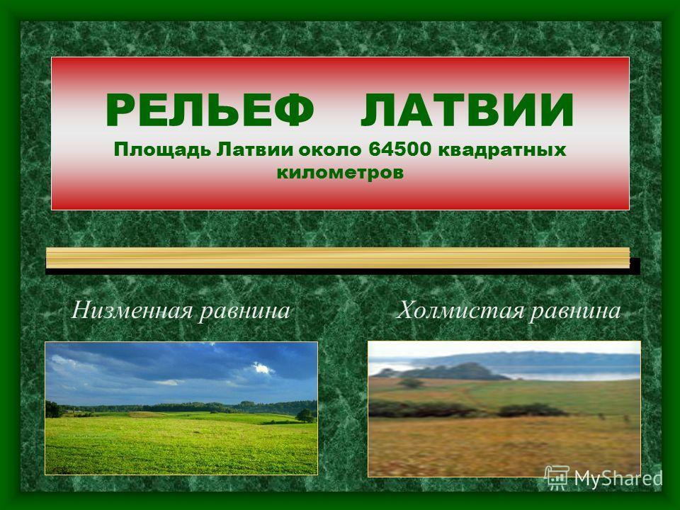 РЕЛЬЕФ ЛАТВИИ Площадь Латвии около 64500 квадратных километров Низменная равнина Холмистая равнина