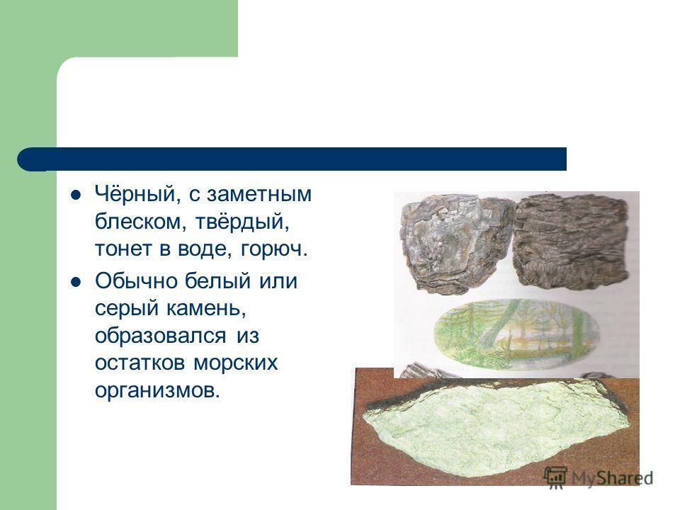 Чёрный, с заметным блеском, твёрдый, тонет в воде, горюч. Обычно белый или серый камень, образовался из остатков морских организмов.