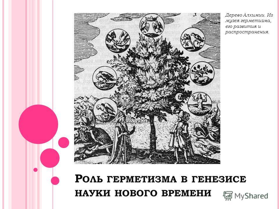 Р ОЛЬ ГЕРМЕТИЗМА В ГЕНЕЗИСЕ НАУКИ НОВОГО ВРЕМЕНИ Дерево Алхимии. Из музея герметизма, его развития и распространения.