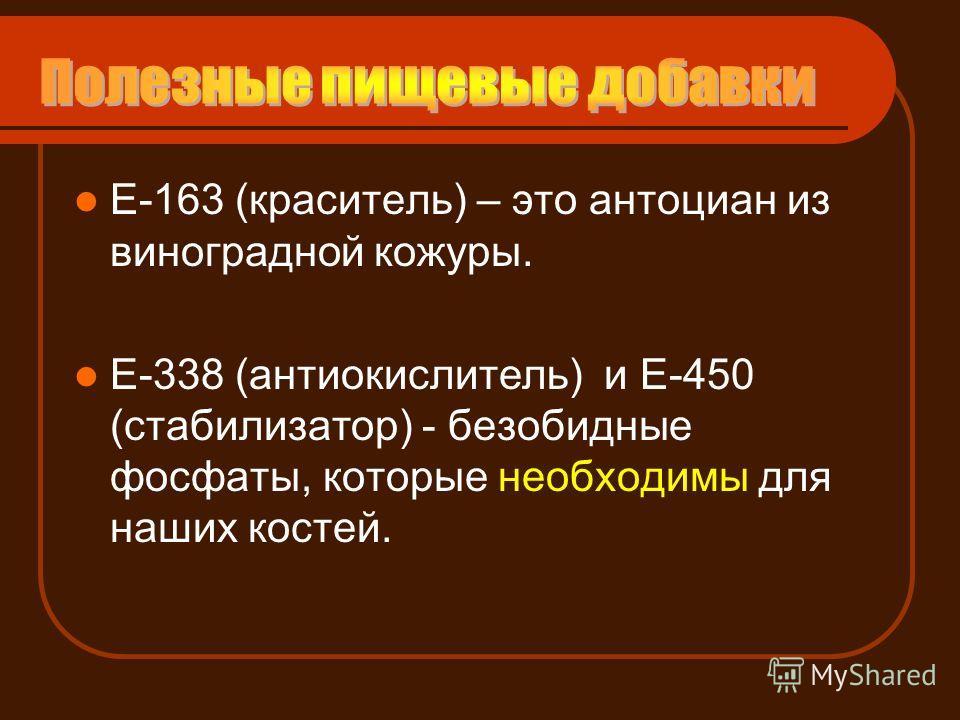 Е-163 (краситель) – это антоциан из виноградной кожуры. Е-338 (антиокислитель) и Е-450 (стабилизатор) - безобидные фосфаты, которые необходимы для наших костей.