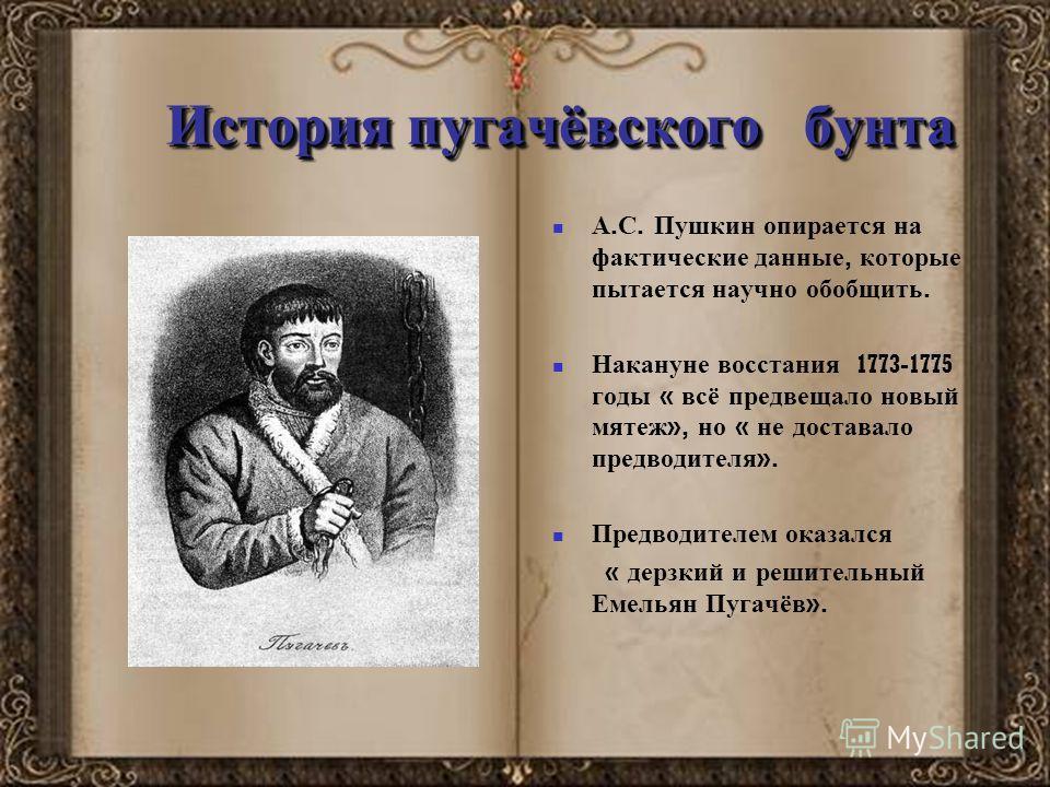 История пугачёвского бунта А. С. Пушкин опирается на фактические данные, которые пытается научно обобщить. Накануне восстания 1773-1775 годы « всё предвещало новый мятеж », но « не доставало предводителя ». Предводителем оказался « дерзкий и решитель