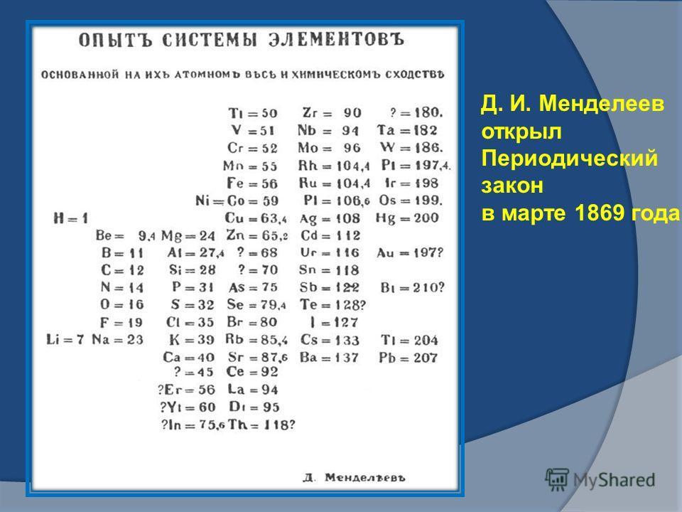 Д. И. Менделеев открыл Периодический закон в марте 1869 года