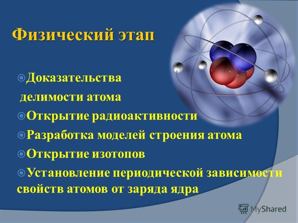Физический этап Доказательства делимости атома Открытие радиоактивности Разработка моделей строения атома Открытие изотопов Установление периодической зависимости свойств атомов от заряда ядра