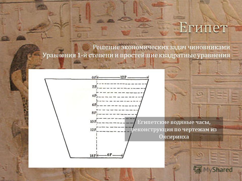 Решение экономических задач чиновниками Уравнения 1-й степени и простейшие квадратные уравнения Египетские водяные часы, реконструкция по чертежам из Оксиринха