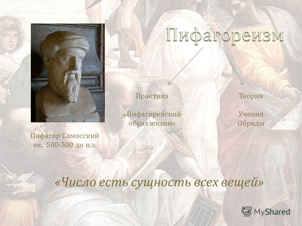 Пифагор Самосский ок. 580-500 до н. э. Практика « Пифагорейский образ жизни » Теория Учения Обряды « Число есть сущность всех вещей »