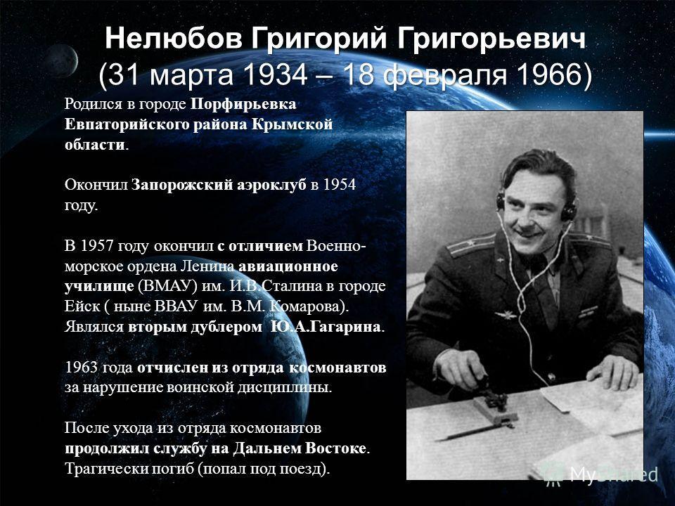 Нелюбов Григорий Григорьевич (31 марта 1934 – 18 февраля 1966) Родился в городе Порфирьевка Евпаторийского района Крымской области. Окончил Запорожский аэроклуб в 1954 году. В 1957 году окончил с отличием Военно- морское ордена Ленина авиационное учи
