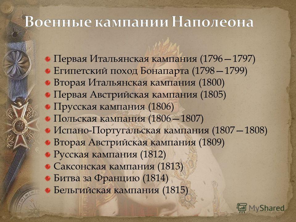 Первая Итальянская кампания (17961797) Египетский поход Бонапарта (17981799) Вторая Итальянская кампания (1800) Первая Австрийская кампания (1805) Прусская кампания (1806) Польская кампания (18061807) Испано-Португальская кампания (18071808) Вторая А