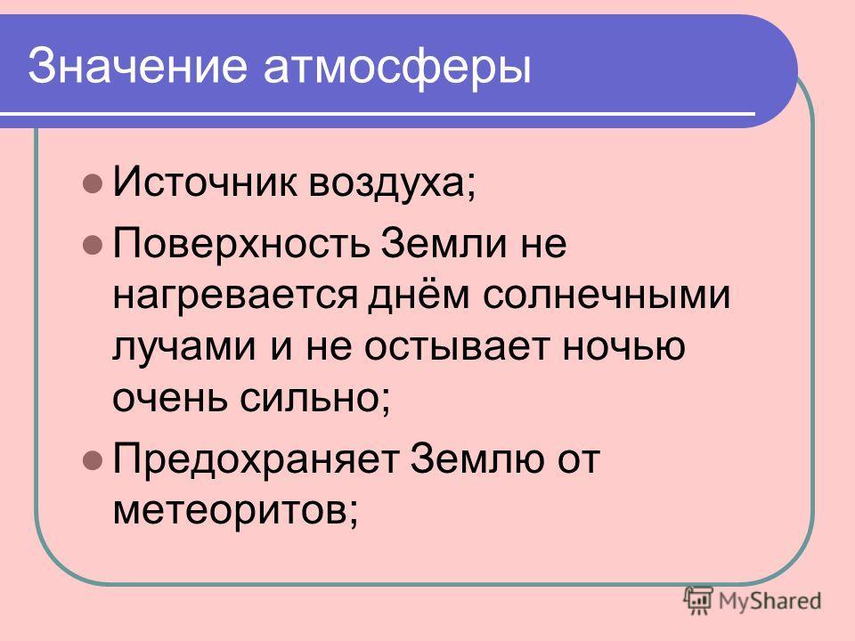 Значение атмосферы Источник воздуха; Поверхность Земли не нагревается днём солнечными лучами и не остывает ночью очень сильно; Предохраняет Землю от метеоритов;