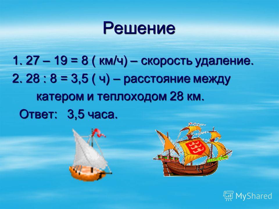 Решение 1. 27 – 19 = 8 ( км/ч) – скорость удаление. 2. 28 : 8 = 3,5 ( ч) – расстояние между катером и теплоходом 28 км. катером и теплоходом 28 км. Ответ: 3,5 часа. Ответ: 3,5 часа.