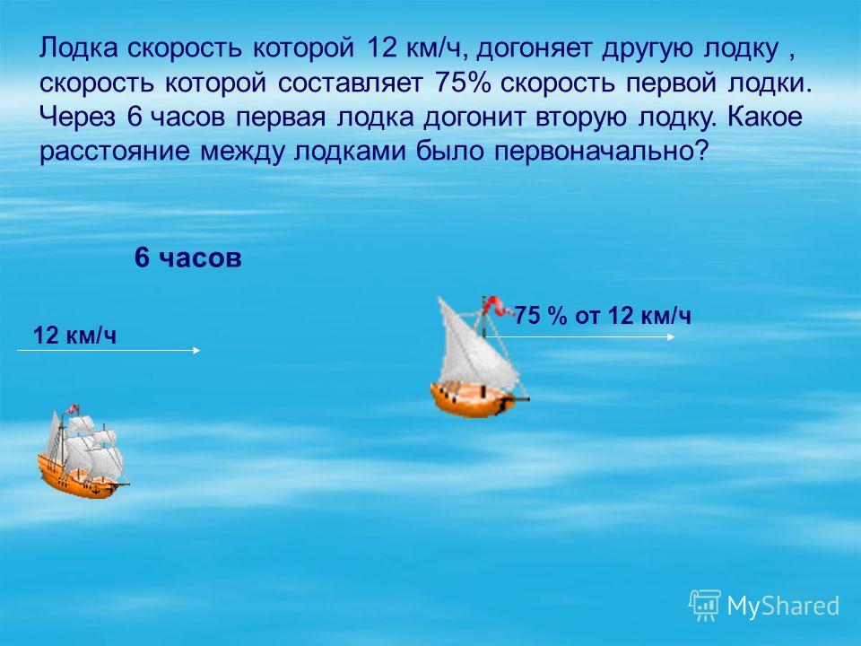 Лодка скорость которой 12 км/ч, догоняет другую лодку, скорость которой составляет 75% скорость первой лодки. Через 6 часов первая лодка догонит вторую лодку. Какое расстояние между лодками было первоначально? 6 часов 12 км/ч 75 % от 12 км/ч