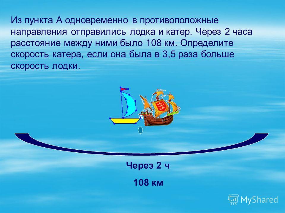 Из пункта А одновременно в противоположные направления отправились лодка и катер. Через 2 часа расстояние между ними было 108 км. Определите скорость катера, если она была в 3,5 раза больше скорость лодки. А Через 2 ч 108 км