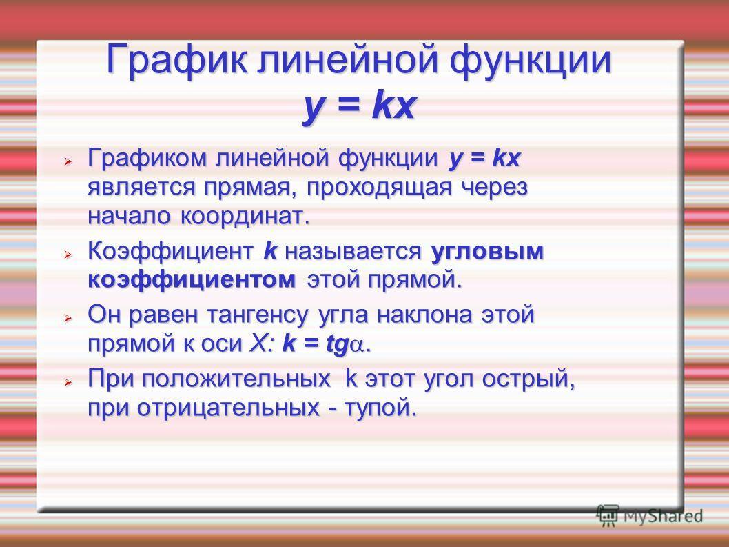 График линейной функции y = kx Графиком линейной функции y = kx является прямая, проходящая через начало координат. Графиком линейной функции y = kx является прямая, проходящая через начало координат. Коэффициент k называется угловым коэффициентом эт