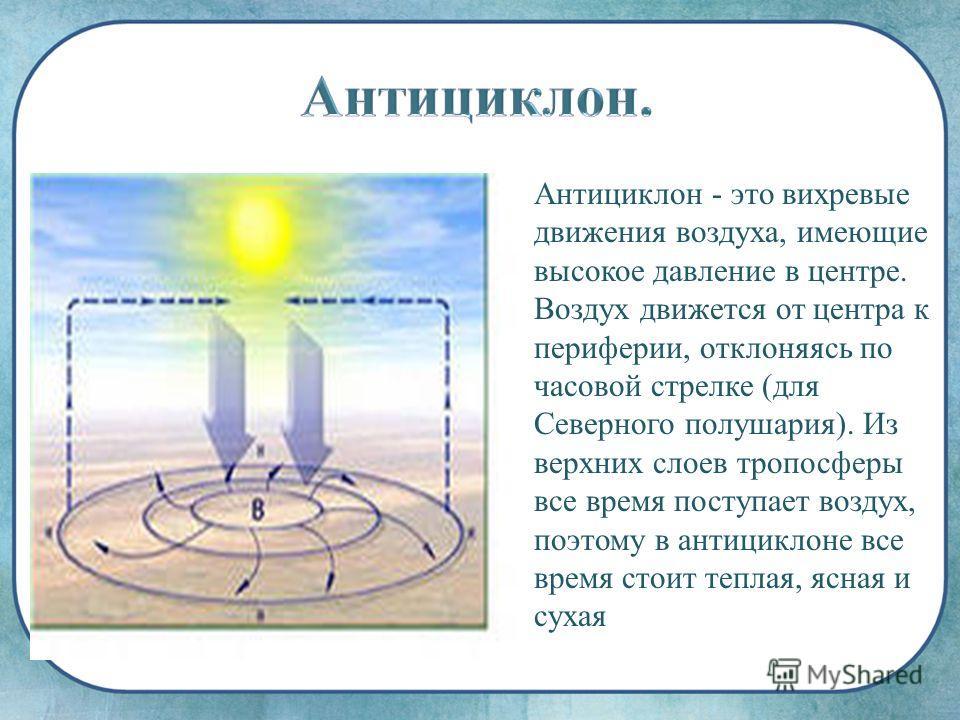 Антициклон - это вихревые движения воздуха, имеющие высокое давление в центре. Воздух движется от центра к периферии, отклоняясь по часовой стрелке (для Северного полушария). Из верхних слоев тропосферы все время поступает воздух, поэтому в антицикло