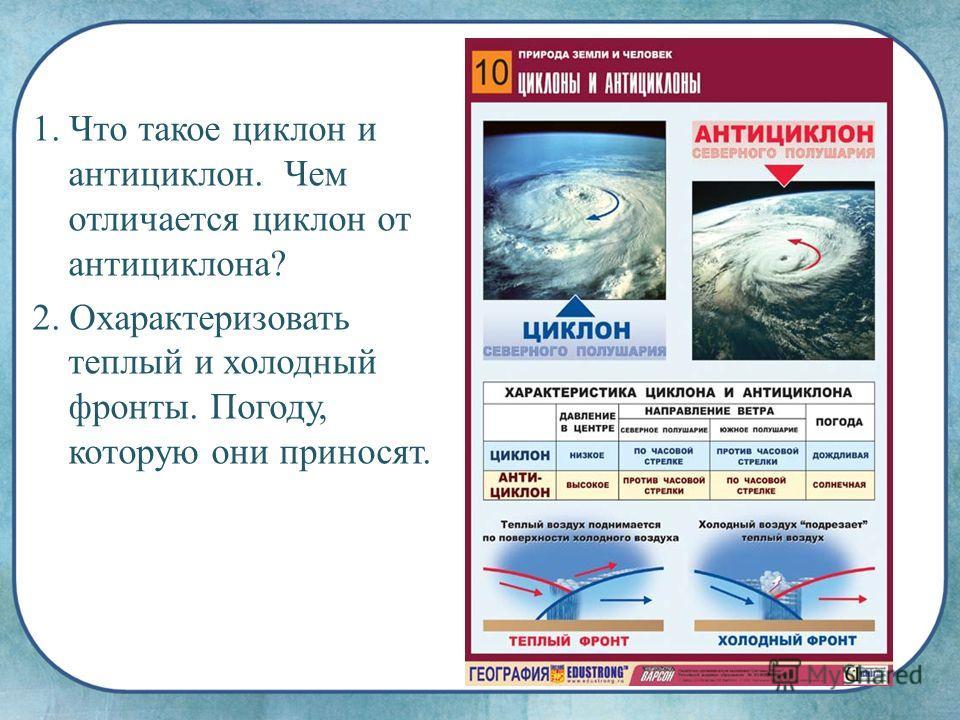 1. Что такое циклон и антициклон. Чем отличается циклон от антициклона? 2. Охарактеризовать теплый и холодный фронты. Погоду, которую они приносят.