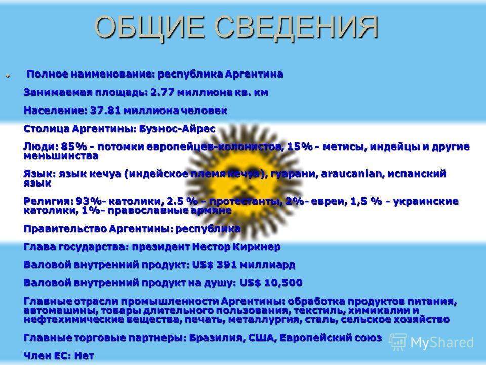 ОБЩИЕ СВЕДЕНИЯ Полное наименование: республика Аргентина Занимаемая площадь: 2.77 миллиона кв. км Население: 37.81 миллиона человек Столица Аргентины: Буэнос-Айрес Люди: 85% - потомки европейцев-колонистов, 15% - метисы, индейцы и другие меньшинства