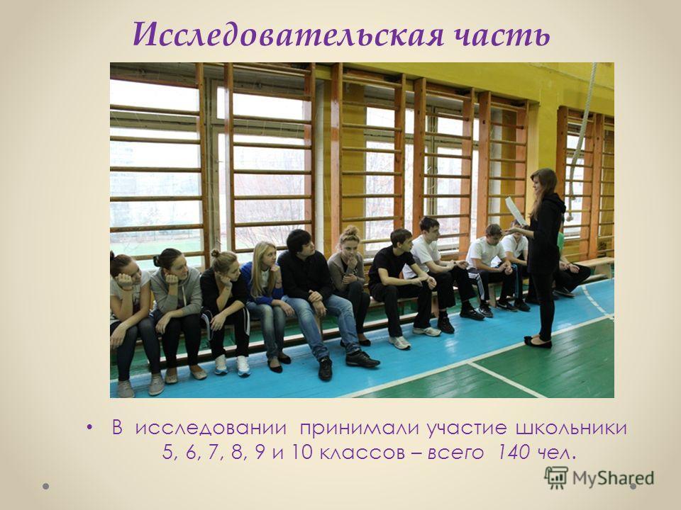 Исследовательская часть В исследовании принимали участие школьники 5, 6, 7, 8, 9 и 10 классов – всего 140 чел.
