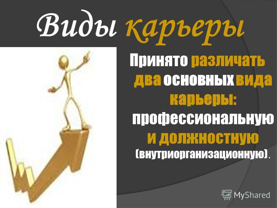 Виды карьеры Принято различать два основных вида карьеры: профессиональную и должностную (внутриорганизационную).