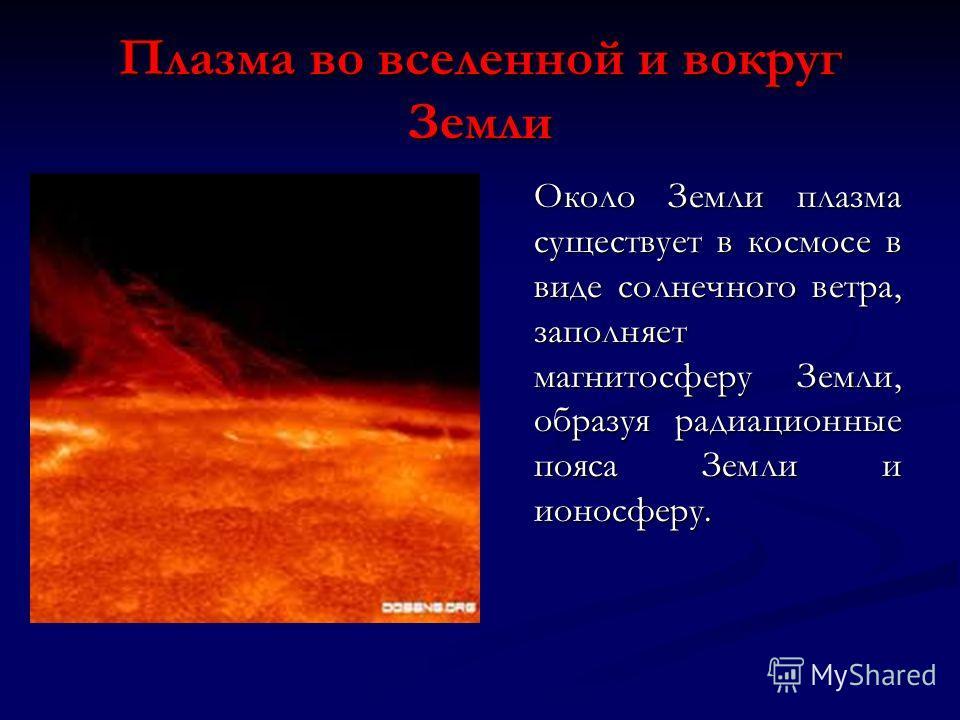 Плазма во вселенной и вокруг Земли Около Земли плазма существует в космосе в виде солнечного ветра, заполняет магнитосферу Земли, образуя радиационные пояса Земли и ионосферу.