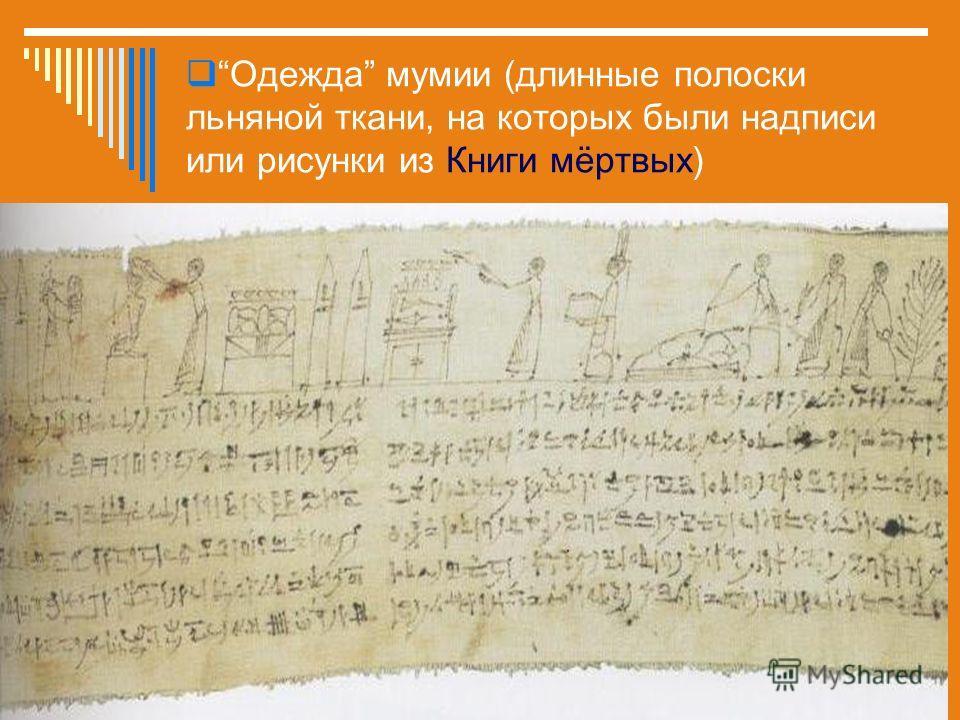 Одежда мумии (длинные полоски льняной ткани, на которых были надписи или рисунки из Книги мёртвых)