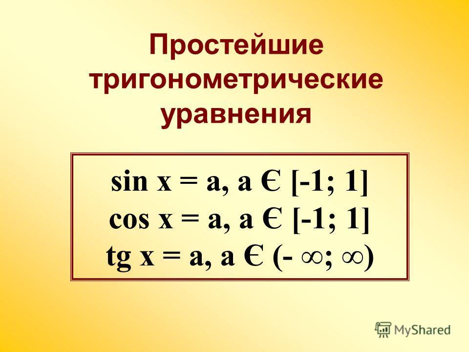 sin x = a, a Є [-1; 1] cos x = a, a Є [-1; 1] tg x = a, a Є (- ; ) Простейшие тригонометрические уравнения
