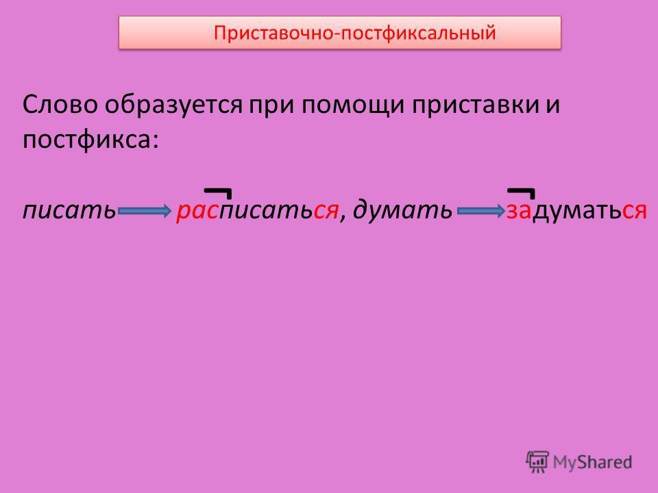 Приставочно-постфиксальный Слово образуется при помощи приставки и постфикса: писать расписаться, думать задуматься ¬¬