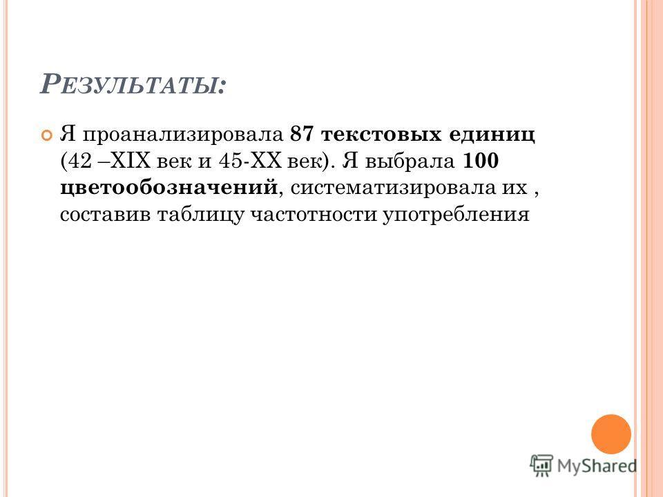 Р ЕЗУЛЬТАТЫ : Я проанализировала 87 текстовых единиц (42 –XIX век и 45-XX век). Я выбрала 100 цветообозначений, систематизировала их, составив таблицу частотности употребления