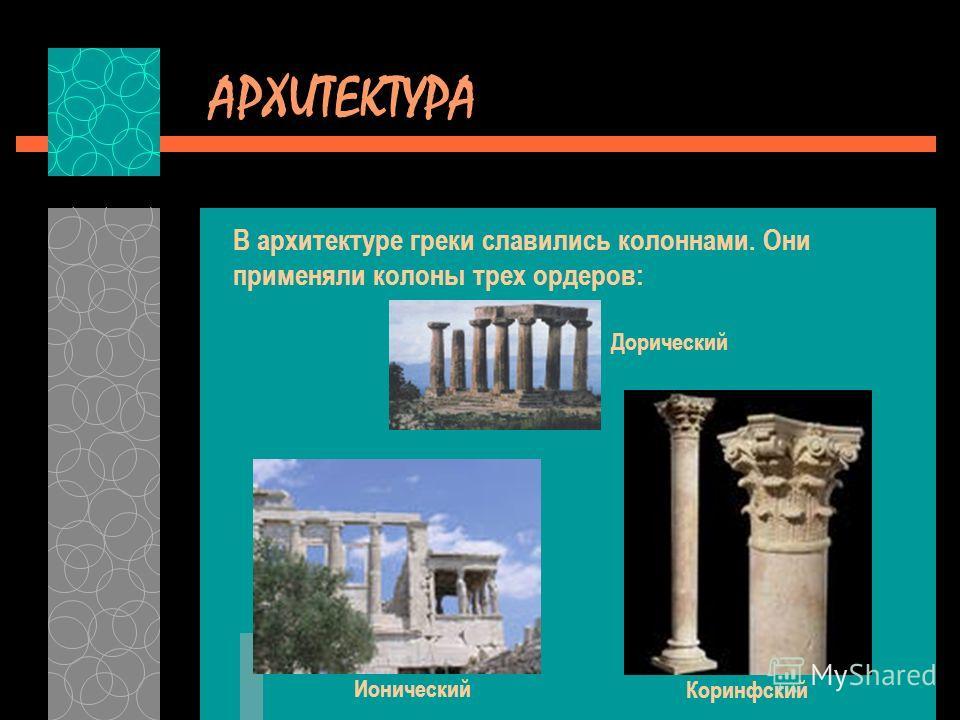 АРХИТЕКТУРА В архитектуре греки славились колоннами. Они применяли колоны трех ордеров: Дорический Ионический Коринфский